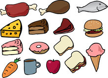 Food icons. Assorted food icons lineart hand-drawn vector illustration Royalty Free Stock Images