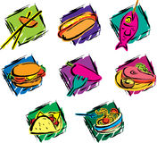 Food Icons. Various type of colorful food icons Stock Images