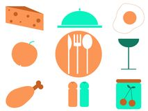 Food icons. Food and drink set of icons royalty free illustration