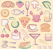 Food icons. Background with various images of food Royalty Free Stock Photo