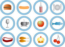 Food icons. Vector food icons, various types stock illustration