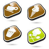 Food icons. A collection or set of illustrated icons related to food Stock Photo