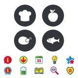 Food icons. Apple fruit with leaf symbol. Stock Photo