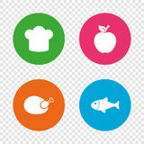 Food icons. Apple fruit with leaf symbol. Chicken hen bird meat sign. Fish and Chef hat icons. Round buttons on transparent background. Vector Royalty Free Stock Photos