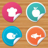 Food icons. Apple fruit with leaf symbol. Round stickers or website banners. Food icons. Apple fruit with leaf symbol. Chicken hen bird meat sign. Fish and Chef Royalty Free Stock Image