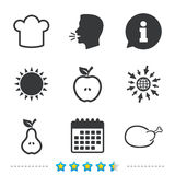 Food icons. Apple and Pear fruit symbols. Stock Photos