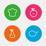 Food icons. Apple and Pear fruit symbols. Royalty Free Stock Images