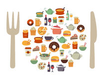 Food Icons Background Royalty Free Stock Images