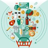 Food icons basket. Food concept with kitchen and cooking decorative icons and shopping basket vector illustration vector illustration
