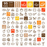 Food icons big set Royalty Free Stock Photos