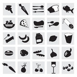 25 Food icons. Black and white food icons Royalty Free Stock Images