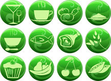 Food icons on buttons Stock Image