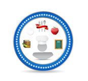 Food icons and chef seal concept illustration Royalty Free Stock Image