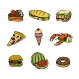 Food icons collection. Doodle cartoon vector illustration. It includes delicious dishes for all tastes vector illustration