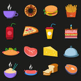 Food Icons on a dark gray background with shadow. Food Icons on a dark gray background  with shadow Stock Photos