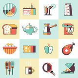 Food icons flat line set Royalty Free Stock Photo