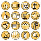 Food icons flat line set Stock Images