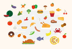 Food icons in flat style vector Stock Images