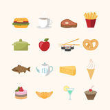 Food icons in flat style Stock Image