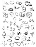 Food Icons Hand Drawn Illustration Stock Photography