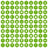 100 food icons hexagon green. 100 food icons set in green hexagon isolated vector illustration Stock Photography