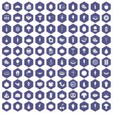 100 food icons hexagon purple Stock Photo