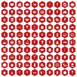 100 food icons hexagon red Royalty Free Stock Image