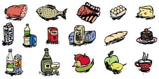 Food icons  illustration. Set of food cartoon icons  color illustration Royalty Free Stock Photography