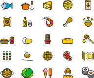 Food icons. Illustration of a set of twenty five food icons, including, fish, cheese, shrimp, chicken leg, chop, ice cream, ice lolly,kebab, soup, ladle, chop Royalty Free Stock Photo
