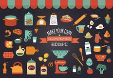 Food icons and illustrations - vector collection. Make your own illustrated recipe card royalty free illustration