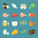 Food Icons. Ingredient food icons, vector design Stock Photos