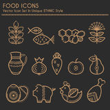 Food icons in linear ethnic style Stock Photo