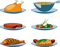 Food Icons main. Food Icons for restaurant or cafe menu. Unifyed simple style. Pack 1 of 2 Royalty Free Stock Image