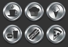 Food Icons on Metal Internet Button Stock Photos