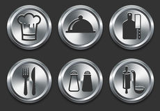 Food Icons on Metal Internet Button Royalty Free Stock Photography