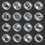 Food Icons on Metal Internet Buttons.  Royalty Free Stock Photography