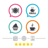Food icons. Muffin cupcake symbol. Fork, knife. Stock Photo