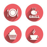 Food icons. Muffin cupcake symbol. Fork, knife Royalty Free Stock Photos