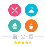 Food icons. Muffin cupcake symbol. Fork, knife. Stock Photos