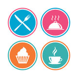 Food icons. Muffin cupcake symbol. Fork, knife. Stock Image