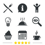 Food icons. Muffin cupcake symbol. Fork, knife. Royalty Free Stock Images