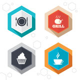 Food icons. Muffin cupcake symbol. Fork, knife Royalty Free Stock Photography