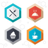 Food icons. Muffin cupcake symbol. Fork, knife Stock Image
