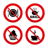Food icons. Muffin cupcake symbol. Fork, knife. No, Ban or Stop signs. Food and drink icons. Muffin cupcake symbol. Plate dish with fork and knife sign. Hot Stock Photos