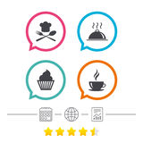 Food icons. Muffin cupcake symbol. Fork, spoon. Stock Photography