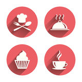 Food icons. Muffin cupcake symbol. Fork, spoon. Food and drink icons. Muffin cupcake symbol. Fork and spoon with Chef hat sign. Hot coffee cup. Food platter Royalty Free Stock Photo