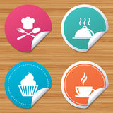 Food icons. Muffin cupcake symbol. Fork, spoon. Stock Photo