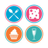 Food icons. Muffin cupcake symbol. Fork, spoon. Royalty Free Stock Photos