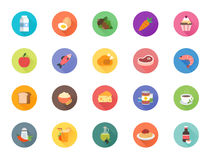 20 Food icons. Multicolored flat icons with foods items for the food catigories stock illustration