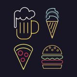 Food icons neon lights. Icon vector illustration graphic design Royalty Free Stock Photos